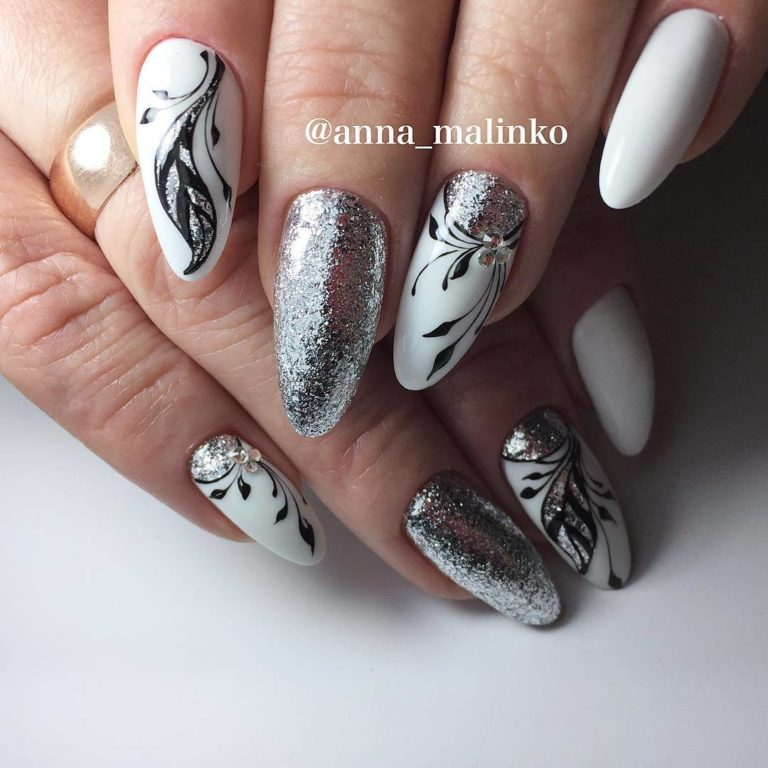 White nails with pattern