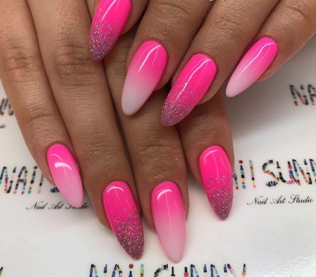 Bright pink nails