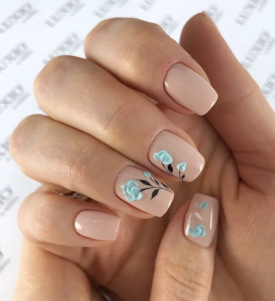 Beige nail art