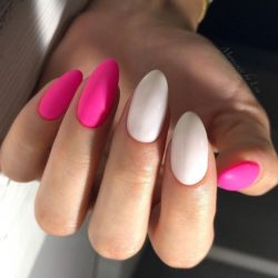 Raspberry white nails photo