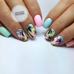 Palm tree nail art photo