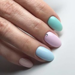 Cute pink and blue nails photo