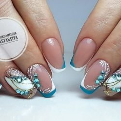 Blue and white french nails photo
