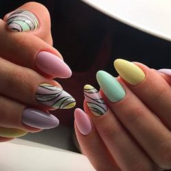 Nails with wavy lines photo