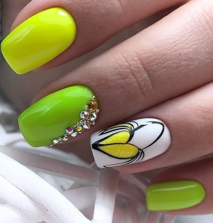 White and lime nails