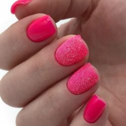 Bright raspberry nails photo