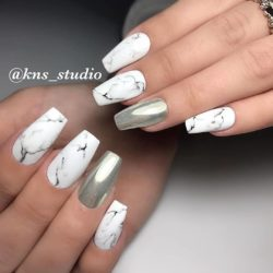 White nails with pattern photo
