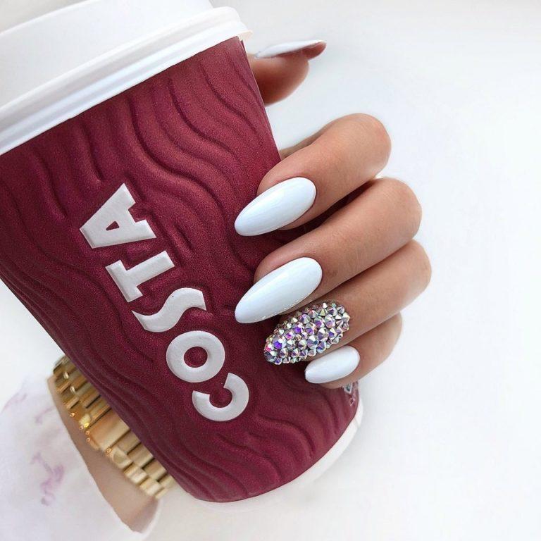 White rhinestone nail art