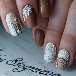Ideas of brown nails photo