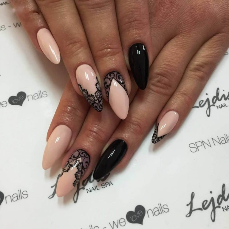 Beige and black nail designs