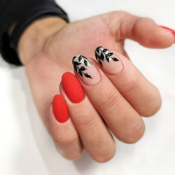 Red oval nails photo