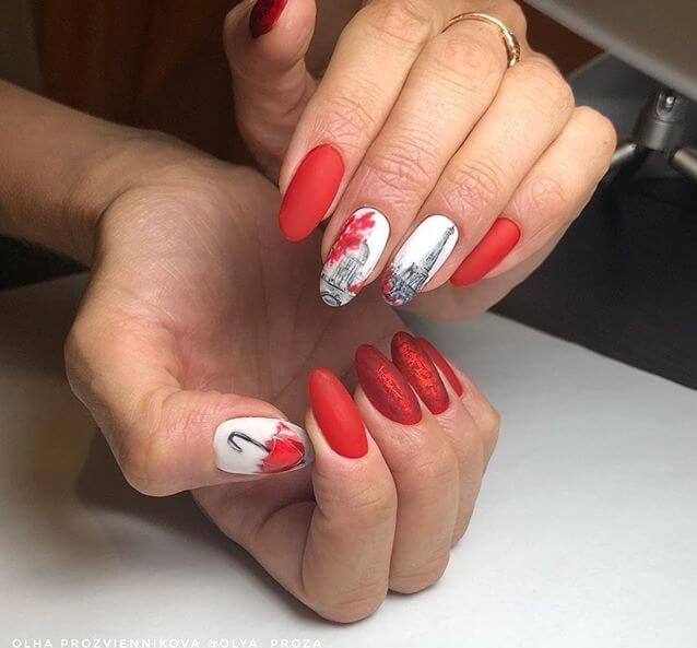 Painted red nails