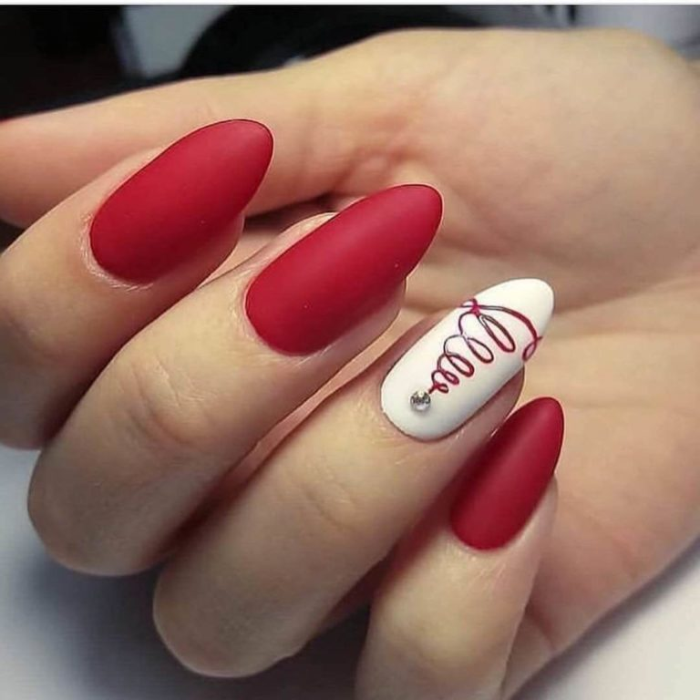 Red oval nails