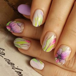 Spring nails with flowers photo