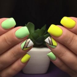 Yellow green nails photo